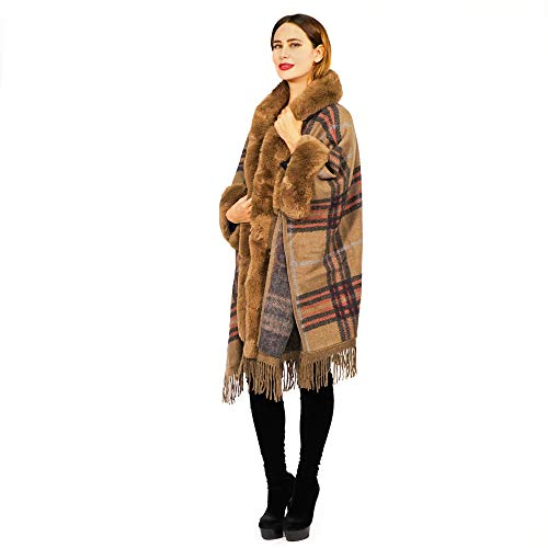 Plaid Hooded Warm Ponchos with Fur Trim - Open Front Batwing Blanket Shawl Ruana Capes (Walnut Brown)