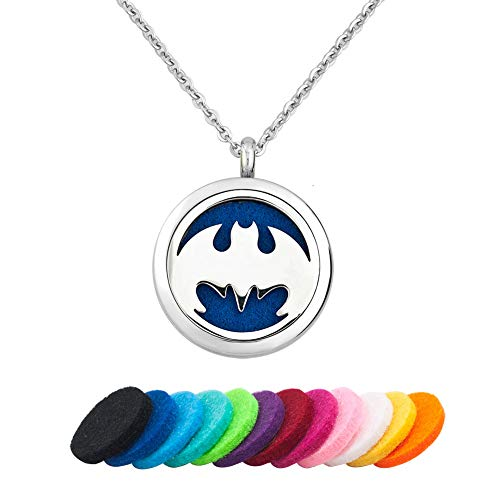 JewelryHouse Animal Cat Bat Aromatherapy Essential Oil Diffuser Necklace for Women Men Stainless Steel Locket Jewelry