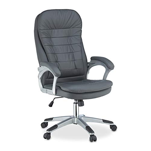 Relaxdays Bürostuhl höhenverstellbar, ergonomisch, drehbar, mit Armlehnen, Kunstleder, 100kg, Schreibtischstuhl, grau