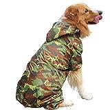 Zylina Chubasquero para perros grandes, mascotas, perros, impermeable, ligero, con capucha, accesorio para caminar al aire libre