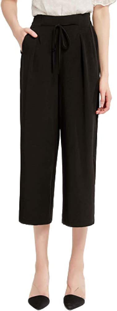 nobranded Women's Summer High Waist Drawstring Cropped Wide-Leg Pants Casual Slim Solid