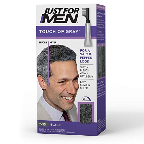 Just For Men Touch of Gray, Gray Hair Coloring for Men with Comb Applicator, Great for a Salt and Pepper Look - Black, T-55 (Packaging May Vary)