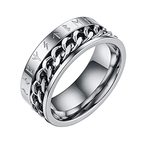Anillo con símbolo vikingo, acero inoxidable / oro de 18 quilates / negro, anillo giratorio de cadena cubana, regalo para hombres / mujeres, tamaño 7-13