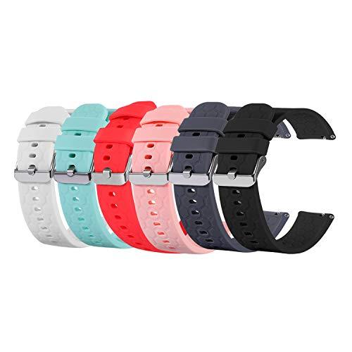Tencloud Ersatzarmband kompatibel mit Amazfit Bip S Band, weiches Silikon Sport Armband Uhrenzubehör für Amazfit Bip S/Bip Lite/Bip Smartwatch (6 Stück)