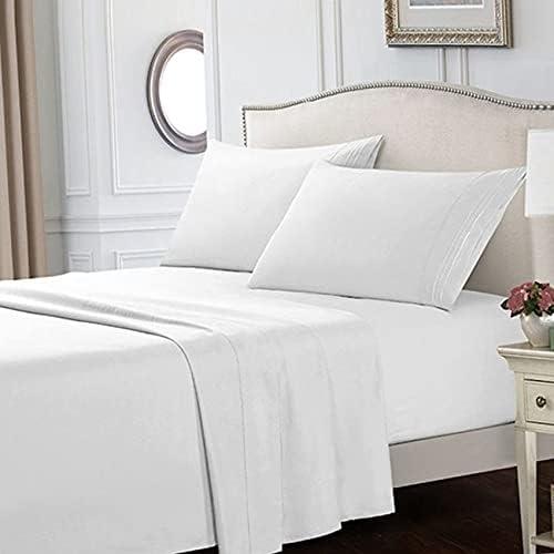 100% Cotton Queen-Size Bed Sheet Set/Four-Piece, 14-Inch Deep Pocket Double Bed Mattress Cover, Luxurious Soft Bed Sheet