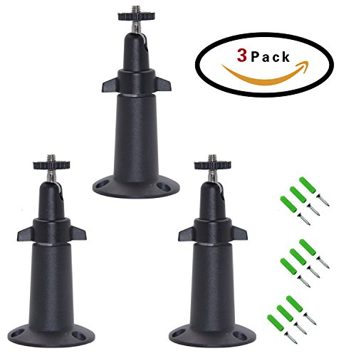 FIZZE Mount For Netgear Arlo Camera - 3 Pack Aluminum Never Rust Security Camera Wall Mount Adjustable Indoor Outdoor Mount for Arlo Pro or CCTV or DVR Have Same Interface - Black Color