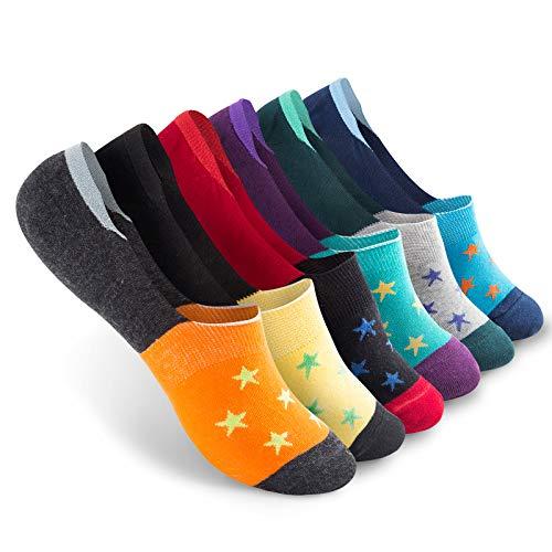 Vkele 6 Paar Damen Füßlinge aus Baumwolle Bunte Socken Sternchen 39 40 41 42 rot orange blau grau schwarz lichtblau grün