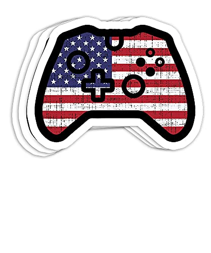 USA Flag Video Game Controller 4th of July Gamer Gift Decorations - 3x4 Decals Stickers for Laptop Window Helmet Water Bottle (Set of 3)