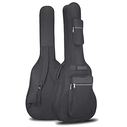 Guitar Gig Bag 41in Guitar Case Waterproof Oxford Electric Guitar Gig Bag With Three Pockets Thick Padding Leather Guitar Bag For Acoustic Classical Guitar, Ukulele, Bass Guitar And More Delaware