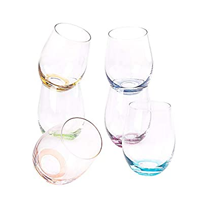 SUNNOW Vastto 18 Ounce Multicolor Stemless Wine Glass,Bell Shape,for Water,Beverage,Wine,Beer and Home Bar Collection,Set of 6 (Six Bright Colors)