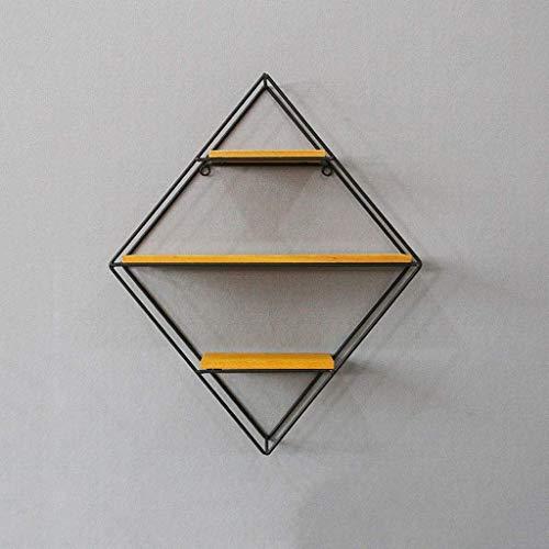 YLCJ ailj rek van massief ijzer, met plank van geometrisch ijzer, creatief boekenrek, verkrijgbaar in meerdere combinaties (4 tipi) (kleur: diamant)