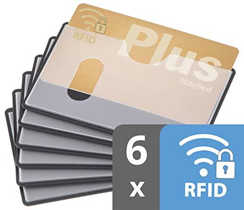 RFID Blocker Schutzhülle | 6 Stück | TÜV geprüft | Längseinschub | transparent | Kunststoff | NFC Schutzhüllen | EC Kartenhülle RFID Schutz