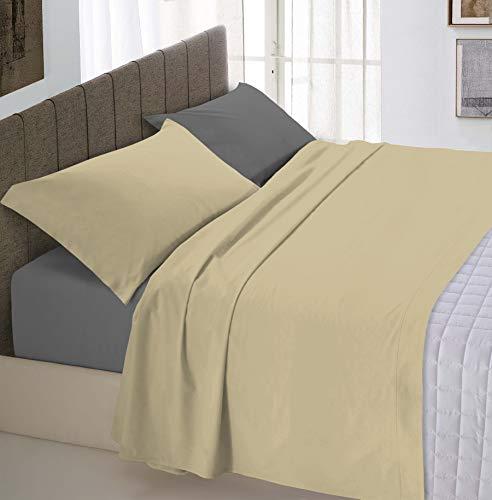 Italian Bed Linen Natural Color Completo Letto Double Face, 100% Cotone, Tortora/Fumo, Una Piazza E Mezza