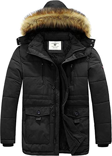 Men's Winnter coats Removable Hooded Frost-Fighter Sherpa Lined Midi Packable Parka Jackets (Black, XXL)