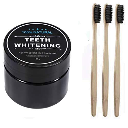 3x Bambus Bio Zahnbürste 100% Organic +1 x Aktivkohle Pulver Zahnpflege Zahnaufhellung Zahnweiss Natur bleaching weisse weiss aus Kohle Kokosnuss Zahnaufhellung weisser natuerliche Aktivkohle Set