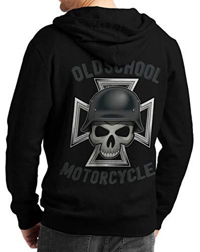 Rebel on Wheels Herren Zip Hoodie Sweat-Jacke mit Kapuze Kapuzen-Jacke Winter mit Motiv Bedruckt Totenkopf Skull Biker Motorrad Oldschool Motorcycle Schwarz 2XL