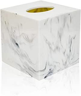 Jung Ford Square Tissue Box Cover, Facial Napkin Holder for Bathroom Living Room Office, Marble-Imitated Made of Resin (White)