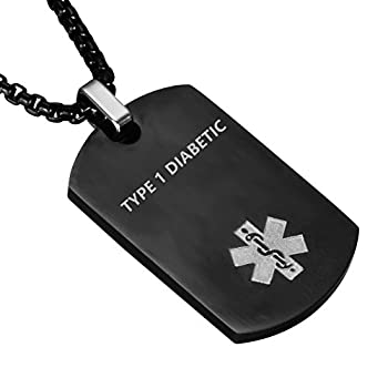LF Stainless Steel TYPE 1 DIABETIC Medical Alert Dog Tag ID Pendant Caduceus necklace for Men Women Teens Health Alert Monitoring Systems,Black