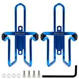 SKOLOO 2 Packs Bicycle Water Bottle Cages,Standard Lightweight Aluminum Cycling Mountain Bike Dirt Bike Bottle Holder Carrier Rack, Blue
