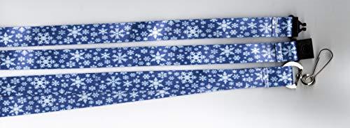 Umhängeband mit Schneeflocken-Motiv, bedruckt, weihnachtliches Design, mit Sicherheitsverschluss, Blau/Weiß, 5 Stück