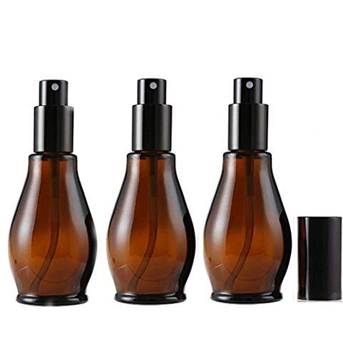 Botella de spray de cristal ámbar de 30 ml, con pulverizadores de niebla fina y tapa antipolvo, para limpieza cosmética, aromaterapia difusor de aceite esencial, paquete de 3