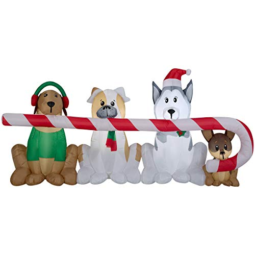 Gemmy Inflatables Puppies Sharing a Big Candy Cane Scene