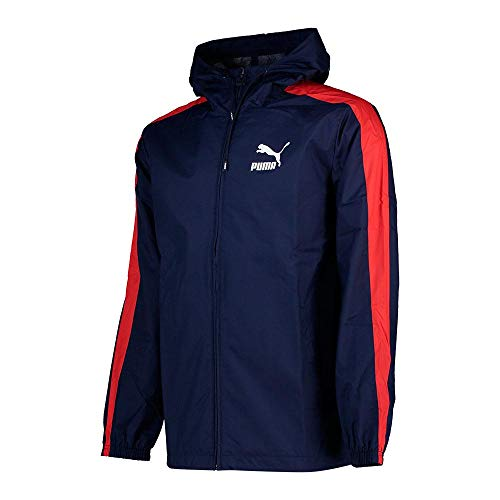 PUMA Herren Jacken Mens Jacket Classic Logo Windbreaker Hooded Rain Jacket Navy/Red 576349 New (Small)