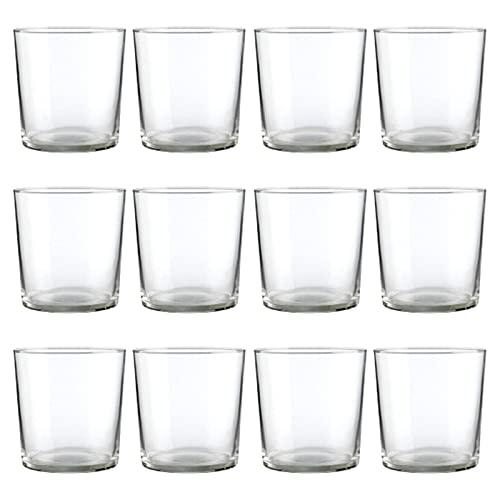 Set de 12 vasos de cristal 36 cl, modelo Bodega, pack de 12 vasos para pinta de cerveza 8,3 x 8,8 cm, diseño clásico, resistentes, ligeros, aptos para lavavajillas