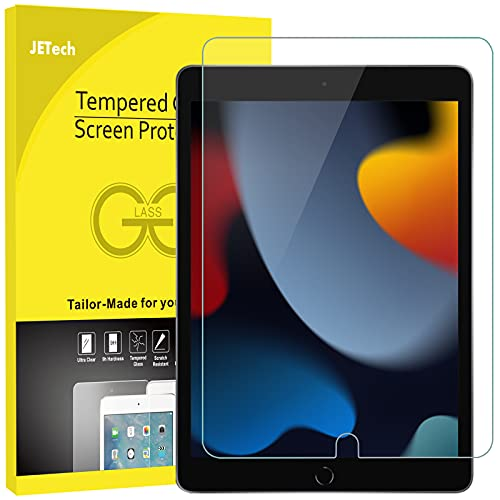JETech Protector de Pantalla Compatible con iPad 9/8/7 (10,2 Pulgadas, 2021/2020/2019 Modelo, 7ª / 8ª / 9ª Generación), Cristal Vidrio Templado