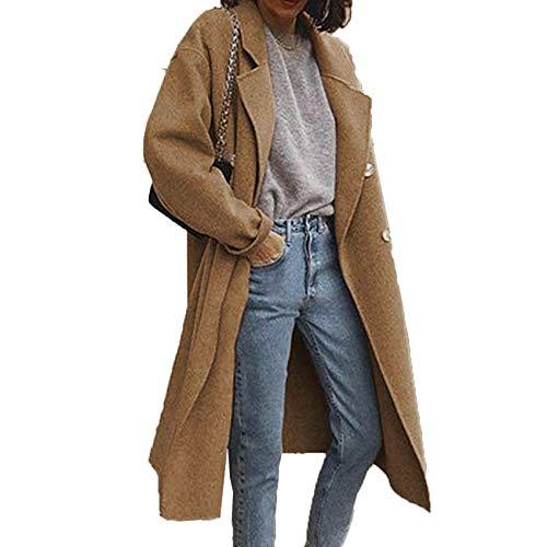 Winter Street Style Damen Trenchcoat Zweireihiger Doppelseitiger Wollmantel