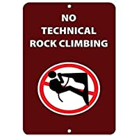 装飾ポスターサイン、テクニカルロッククライミングアクティビティなしサインパークサインパークサインパークガイド警告サイン私有地の金属屋外危険サイン