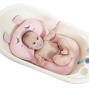 Cojín de baño para bebé UNAOIWN, asiento de cojín antideslizante para baño de recién nacido, almohadilla para bañera de baño flotante para bebés Cojín de esponja para baby shower (Rosa, conejo)