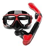 JUYHTY Snorkell Kit Set Anti Niebla Máscara De Buceo Esnórquel Buceo Natación Vidrio Templado Máscara De Snorkel Set De Snorkel Seco para Adultos Y Niños,Rojo,1