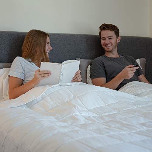 HomeSmart Products Mantas con Peso tamaño Queen | Tela de algodón orgánico de 400 Hilos para una Comodidad óptima | abalorio de Vidrio Mirco no tóxicas | edredón tamaño Queen