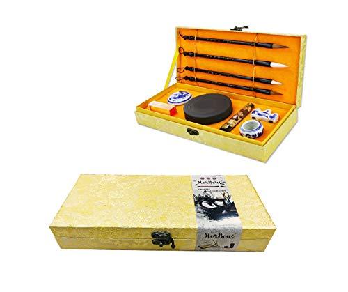 HorBous Set de Caligrafía de 10 PCS Inkstone + Pincel de Escritura y Pintura + Bloque de Tinta + Sello + Inkpad + Rack de Pluma + Tazón de Agua (Básico)