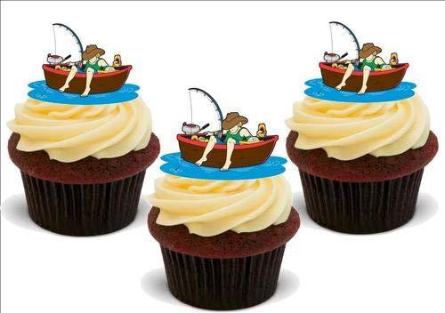 FISCHBOOT, FISCHEN! 12 essbare hochwertige stehende Waffeln Kuchen Toppers, FISHING BOAT, GONE FISHING! 12 Standup Premium Wafer Cake Toppers