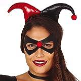 Amakando Set de Disfraces arlequín con Antifaz y Gorro/Rojo-Negro/Máscara acróbata con la Gorra/El Punto Alto para Fiestas Medievales y Carnaval