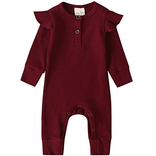 Kuriozud Newborn Infant Unisex Baby Boy Girl Button Solid Knitted Romper Bodysuit One Piece Jumpsuit Outfits Clothes (Ruffle one Piece Wine red, 0-3 Months)