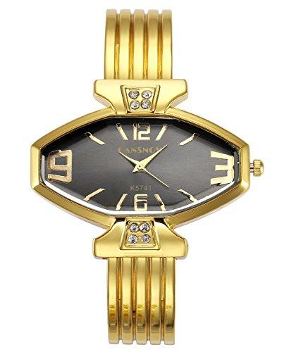 JSDDE Uhren Damen Armbanduhr Chic Manschette Acht Seite Rhombus Damenuhr Spangenuhr Armreifen Quarzuhr Gold Schwarz
