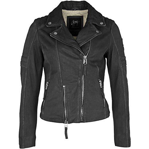 Gipsy Damen Lederjacke Bikerjacke Shalin 4 SF LNUVW Jacke pflanzlich gegerbt aus Nubukleder in Black, Farbe:black, Größe:XS