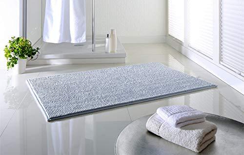 Dreamhome hochwertige Badematte rutschfest Badezimmerteppich Badvorleger schnell trocknender Duschvorleger 65x110 pflegeleichter Anti-Rutsch Hellgrau