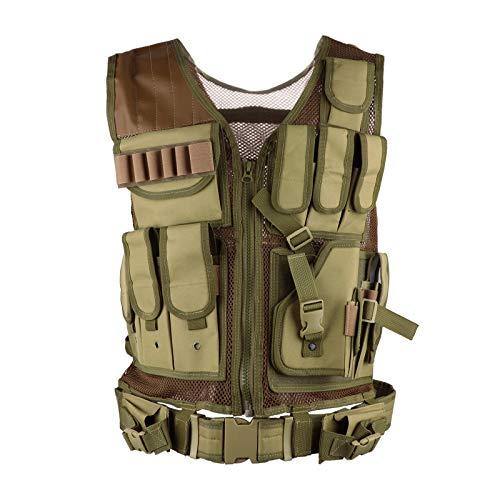 æ— Chaleco táctico, modular de asalto rápido, chaleco táctico Molle Chaleco con numerosas bolsas, ajustable, ligero, transpirable, chaleco de entrenamiento de combate para hombres, mujeres y j
