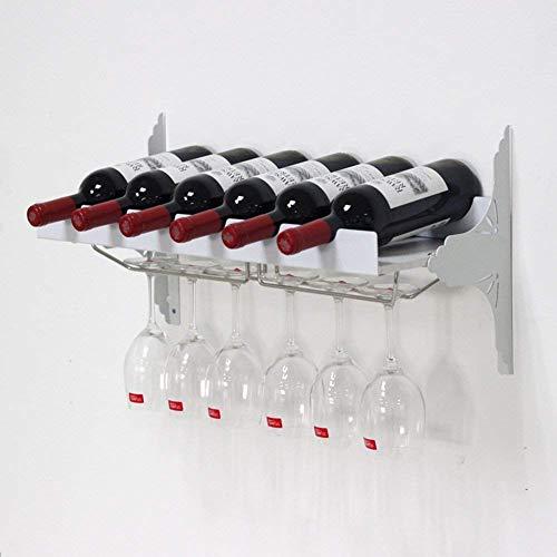 Estante de exhibición de Vino, Estante de exhibición de Vino montado en la Pared, Soporte de Vidrio para Botellas, exhibición de Almacenamiento, Cocina, Estante para Copas de Vino, Color bla