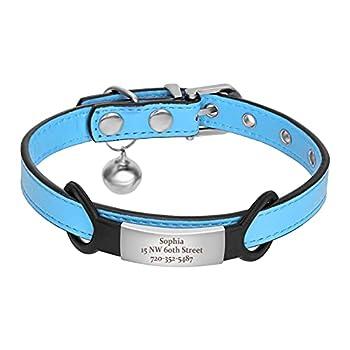 kyliebeauty Colliers de Chat Personnalisés, Colliers de Chaton Personnalisés avec Plaque Signalétique, Téléphone Gravé avec nom d'animal de Compagnie(XS: 1.0cm × 15-21cm Bleu)