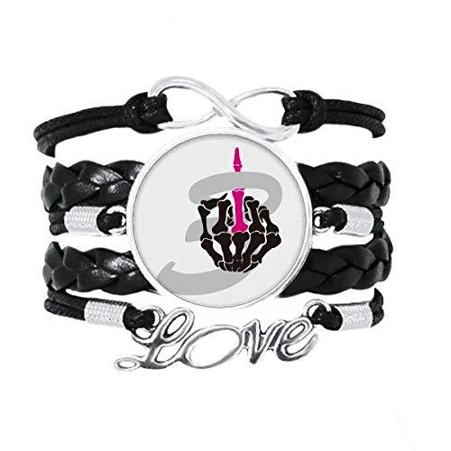 OFFbb-USA - Pulsera de dedo medio con dedo de hueso, accesorio de amor, cuerda de tejer de cuero trenzado, regalo