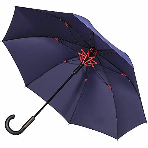 【撥水加工まで大突破】Vialifer長傘 メンズ レディース 傘 超撥水 260T高強度グラスファイバー Teflon加工 軽量 耐風 丈夫 大きい 自動開けステッキ傘 紳士傘 晴雨兼用傘 収納ポーチ付き (ネイビー)
