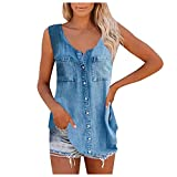 VEKDONE Women Button Up Shirts,Women Casual Denim Scoop Tank Tops Summer Loose Sleeveless Vest Shirt Blouses with Pockets