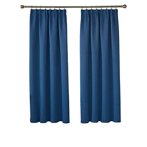 Deconovo Vorhang Blickdicht thermogardine Kräuselband Gardinen Wohnzimmer 175x140 cm Blau 2er Set