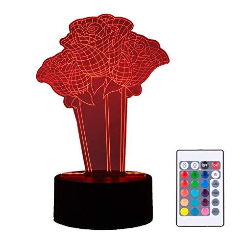 Lámpara LED con efecto 3D de flor San Valentín rosa Sant Jordi amor, 16 colores táctil control remoto, modo USB y batería, ilusión óptica, regalo decoración nocturna habitación