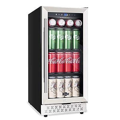 Beverage Refrigerator and Cooler 130 Can, 15 Inch Built-in or Freestanding Mini Fridge for Beer, Soda, Mini Drink Beverage Fridge with Tempered Glass Door and Adjustable Shelves, Digital Display, 37-64?